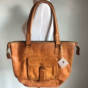 Noonday Collection Rustic Leather Tote Bag, NWT